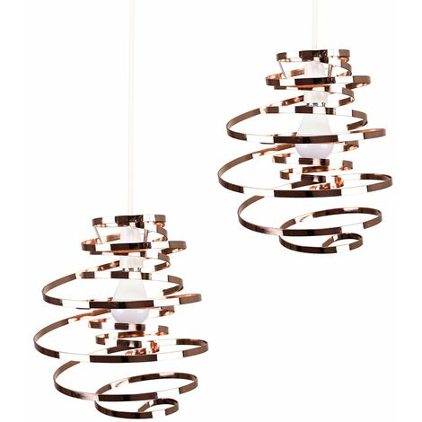 2 x Copper Metal Double Ribbon Spiral Swirl Ceiling Light Shades + 10W LED Gls Bulbs Warm White - Copper