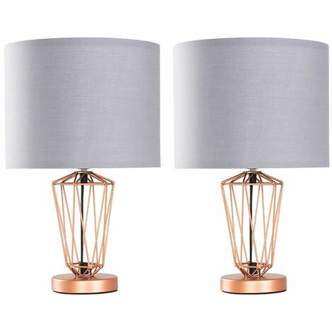 2 x Copper Metal Wire Frame Table Lamps + Grey Shade