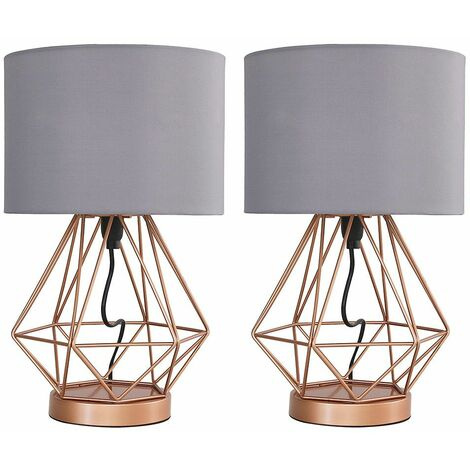 2 x Copper Touch Table Lamps + Grey Shade