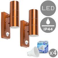 2 x Copper Up / Down Outdoor Security Wall Lights PIR Motion Sensor IP44 + GU10 LED Bulbs - 3000K Warm White