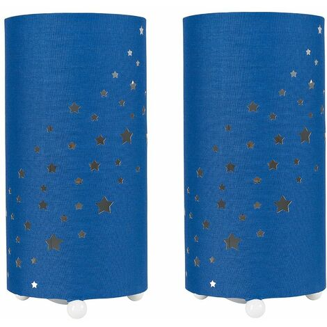 2 x - Dark Blue Cut Out Star Table Lamps