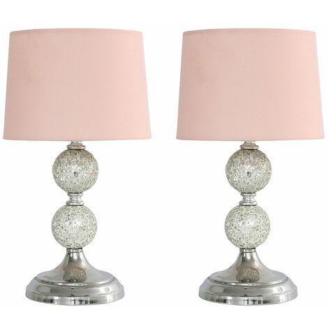 2 x Decorative Chrome & Mosaic Crackle Glass Table Lamps + 4W LED Bulbs Warm White