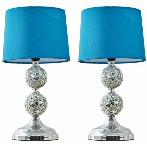 2 x Decorative Chrome & Mosaic Crackle Glass Table Lamps - Blue - Silver