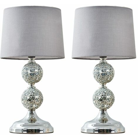2 x Decorative Chrome & Mosaic Crackle Glass Table Lamps + Grey Shade + 4W LED Candle Bulbs Warm White - Silver