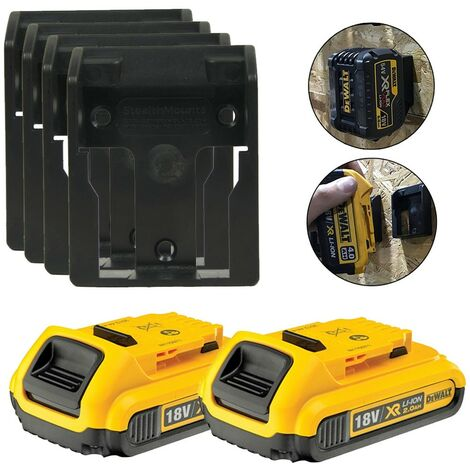 2 x Dewalt DCB183 XR 18v 2.0Ah Li-Ion Batteries & 4 x Battery Mounts Wall Shelf