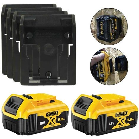 2 x Dewalt DCB184 5.0ah 18v XR Li-Ion Batteries & 4 x Battery Mounts Wall Shelf