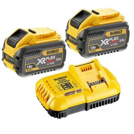 2 x Dewalt DCB547 18v / 54v XR Flexvolt 9.0ah Battery + DCB118 Fast Charger