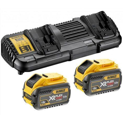 2 x Dewalt DCB547 18v / 54v XR Flexvolt 9.0ah Battery + DCB132 Dual Charger
