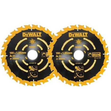 """main image of """"2 x Dewalt DT10304 Corded Circular Saw Blades 190 x 30mm x 24 Tooth Extreme"""""""