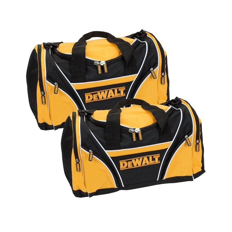 "Image of 2 x Dewalt Tool Bag 8"" 46cm Toolbag Yellow Black Open Top DIY Gym Tools Holdall"
