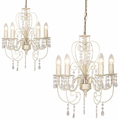 2 x Distressed White Shabby Chic 5 Way Chandeliers