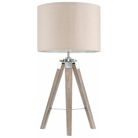 2 x Distressed Wood & Chrome Tripod Table Lamps With Beige Light Shades + 6W LED Gls Bulbs Warm White - Brown