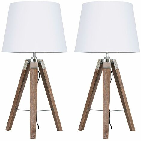 2 x Distressed Wood & Chrome Tripod Table Lamps With White Light Shades + 6W LED Gls Bulbs Warm White - Brown