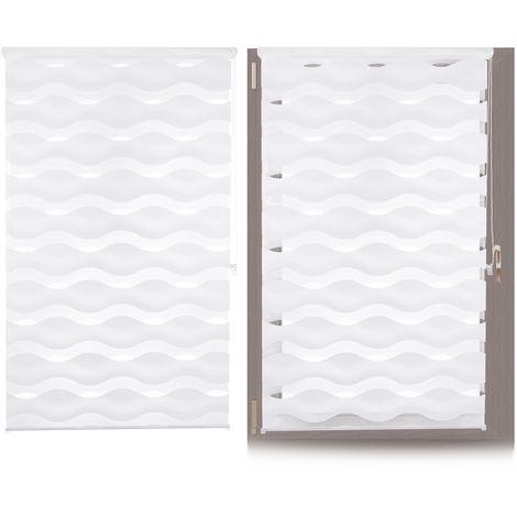 2 x Doppelrollo Klemmfix, ohne Bohren, Blickschutzgrad variierbar, Gesamt: 90 x 150 cm, Stoffbreite 86 cm, weiß