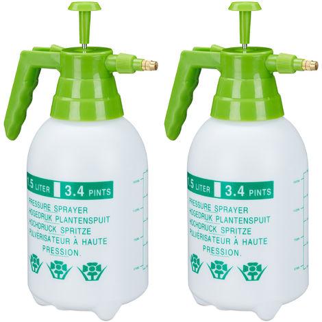 2 x Drucksprüher, 1,5 Liter, einstellbare Messingdüse, Garten, Bewässerung, Schädlingsbekämpfung, PE, weiß/grün