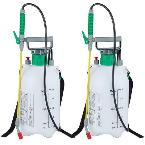 2 x Drucksprüher 5 Liter, Drucksprühgerät mit Schlauch & Lanze, universal, Garten, 3 bar, verstellbare Düse, weiß