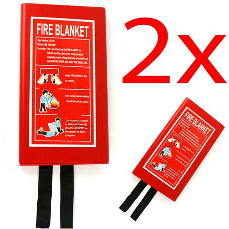 """main image of """"2 X FIRE BLANKET HOME SAFETY 1M X1M QUICK RELEASE PROTECTION KITCHEN OFFICE CASE"""""""