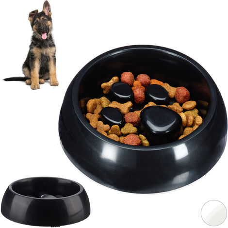 2 x Foraging Feeding Bowl for Slow Eating, Cats & Dogs, Bloat Stop Dish, Dishwasher-Safe, Black