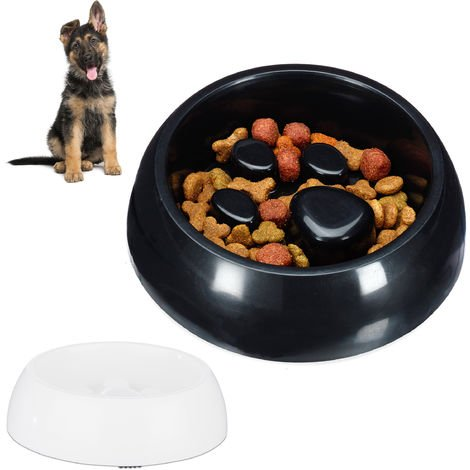 2 x Foraging Feeding Bowl for Slow Eating, Cats & Dogs, Bloat Stop Dish, Dishwasher-Safe, Black-White