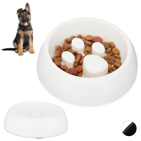 2 x Foraging Feeding Bowl for Slow Eating, Cats & Dogs, Bloat Stop Dish, Dishwasher-Safe, White