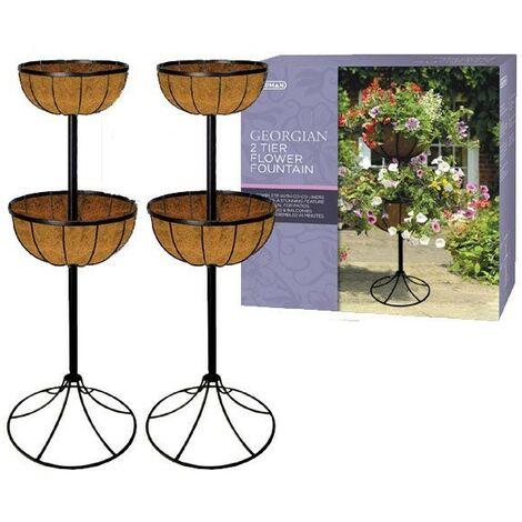 2 x Gardman 00903 Georgian Metal 2 Tier Flower Fountain Patio Planter