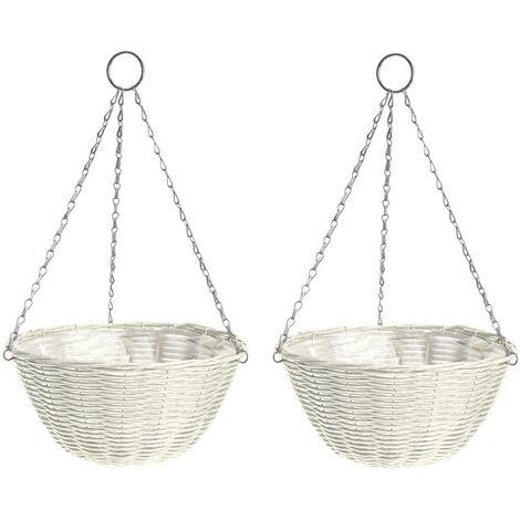 2 x Gardman 35cm 14 Inch Rattan Effect Hanging Basket Cream Planter 03001