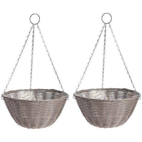 2 x Gardman 35cm 14 Inch Rattan Effect Hanging Basket Light Grey Planter 02890
