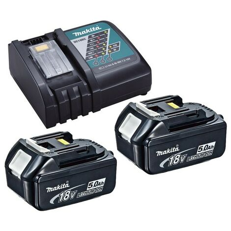 2 x Genuine Makita 18V 5.0Ah LXT Lithium Battery BL1850 + DC18RC Fast Charger