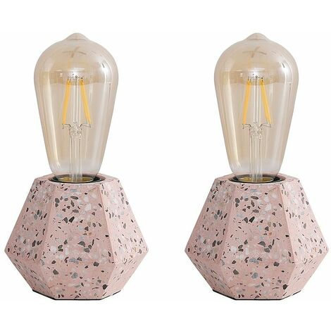 2 x Geometric Style Pink Terrazzo Effect Table Lamps With 4W LED Filament Light Bulbs Warm White