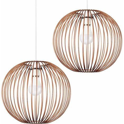 2 x Globe Ceiling Pendant Light Shades In Copper + 10W LED Gls Bulbs Warm White - Copper