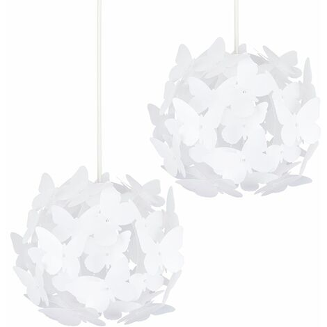 2 x Globe Ceiling Pendant Light Shades With Decorative White Butterflies + 10W LED Gls Bulbs Warm White - White