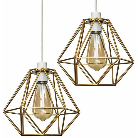2 x Gold Ceiling Pendant Light Shades + 4W LED Filament Bulbs Warm White - Gold