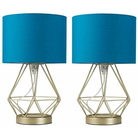 2 x Gold Touch Table Lamps + French Blue Shade - No Bulbs - Gold