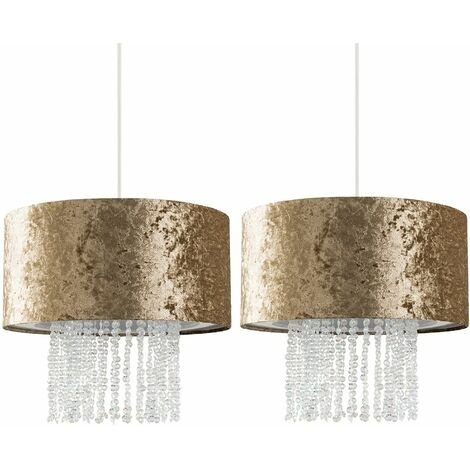2 x Gold Velvet Ceiling Pendant Light Shades With Clear Acrylic Droplets + 10W LED Bulbs Warm White