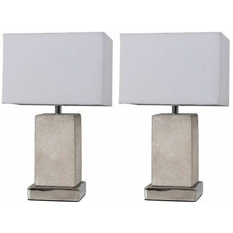2 x Grey Concrete Rectangular Column Table Lamps + Grey Shade 4W LED Bulbs Warm White - Silver