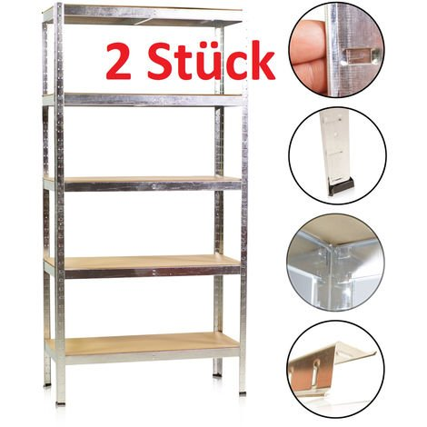 2 X Heavy Duty Shelving Unit Storage Racking Shelf Shelves Boltless Garage 180 x 90 x 40 cm