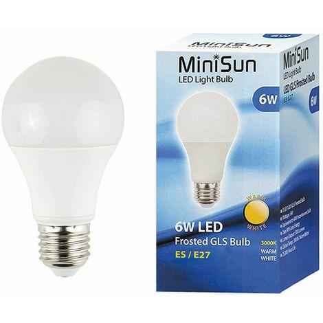 2 x High Power 6W LED Es E27 Smd Gls Energy Saving Bulbs - Warm White