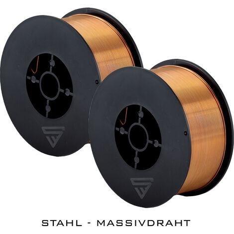 2 x hilo de soldadura STAHLWERK MIG/MAG Ø 0,8 mm, acero SG3 ER70S-6, bobina de 1kg D100 con mandril de 16mm, uso universal