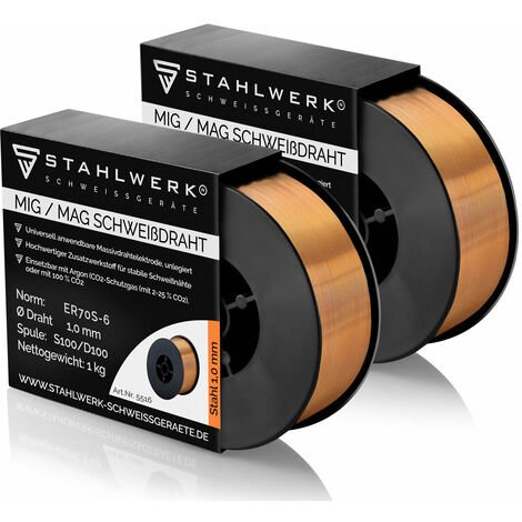 2 x hilo de soldadura STAHLWERK MIG/MAG Ø 1,0 mm, acero SG3 ER70S-6, bobina de 1kg D100 con mandril de 16mm, uso universal