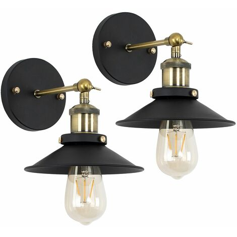 2 x Industrial Black & Antique Brass Wall Lights + Shades