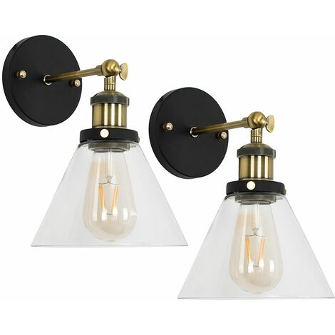 2 x Industrial Black & Gold Wall Lights With Clear Glass Conical Shades - Add LED Bulbs