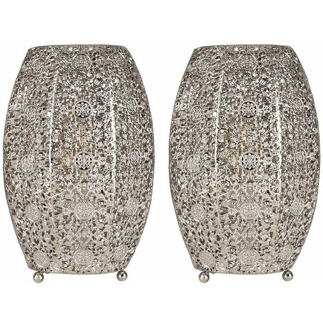 2 x Intricate Moroccan Brushed Chrome Metal Filgree Table Lamps