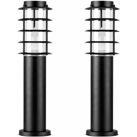 2 x IP44 Outdoor Black Stainless Steel Bollard Lantern Light Posts - LED Bulb - Black