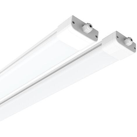 2 x IP65 120cm (4ft) 36W 2700-3300LM Natural White LED Batten Tri-Proof Ceiling Lights