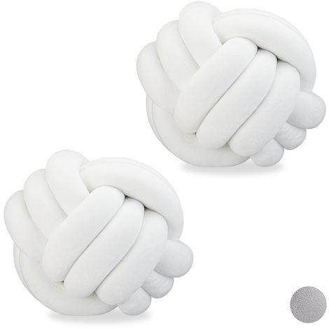 2 x Knotenkissen, geknotetes Kissen für Sofa, Bett, dekorativ, skandinavisch, Zierkissen Knoten, Ø 25 cm, weiß
