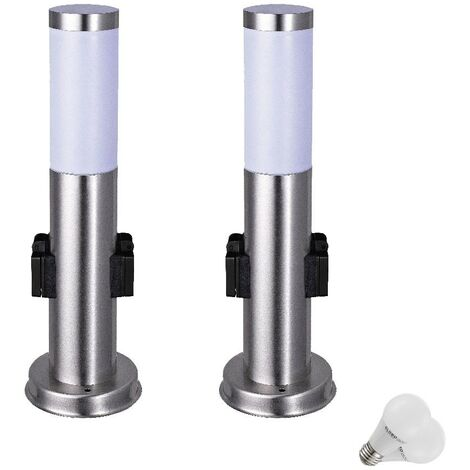2 x lampadaire DEL 7 watts luminaire sur pied éclairage lampe LED inox distributeur prise IP44