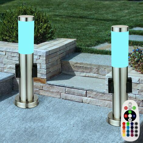 2 x lampadaire DEL RVB luminaire extérieur jardin terrasse lampe LED télécommande