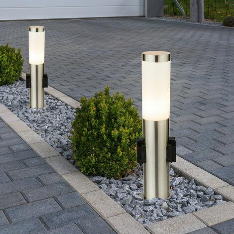 2 x lampadaire luminaire sur pied espace extérieur jardin terrasse éclairage inox véranda IP44