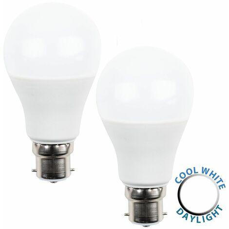 2 x LED Bc B22 Bayonet Cap Dusk To Dawn Sensor Gls Light Bulbs- Cool White