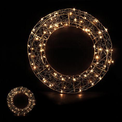 Led Weihnachten.2 X Led Kranz Drahtgeflecht Mit Lichtern Warmweiß Netzteil